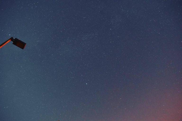 The night sky during the Perseid meteor shower