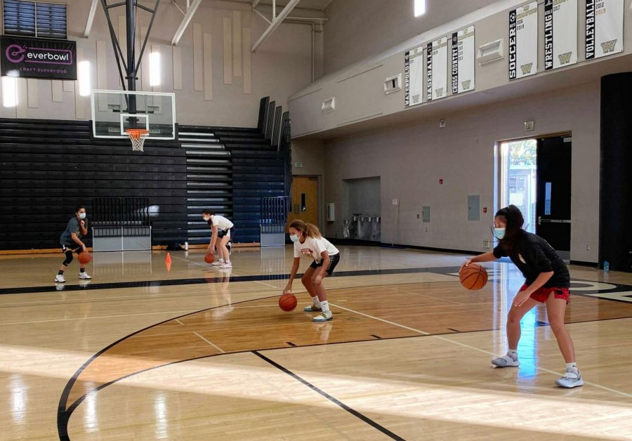 Girls varsity basketball members do a freestyle dribble drill in the gym Nov. 17. According to the new CDPH youth sport guidelines, official indoor basketball practice and games will be permitted when the county reaches the yellow
