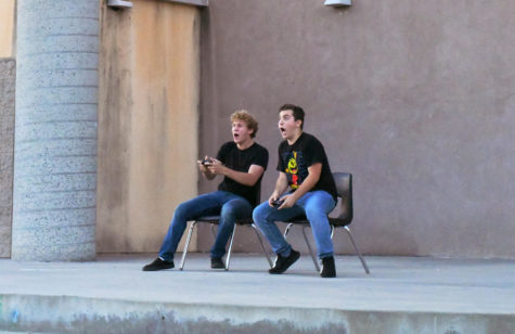 Jonathan McPherson (11) and David Azcona (11) perform Two Player Game from Be More Chill. Photo by Katie Lew.