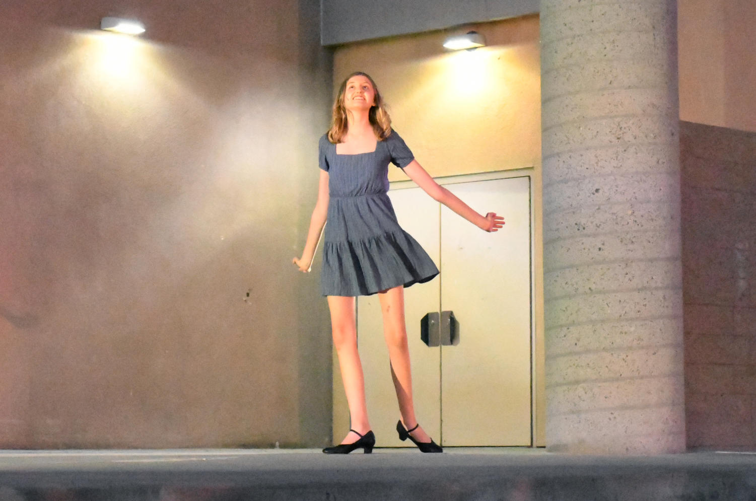 """Callie Mitchell (12) acts out """"I Hear the Bells"""" from Hairspray. Photo by Katie Lew."""